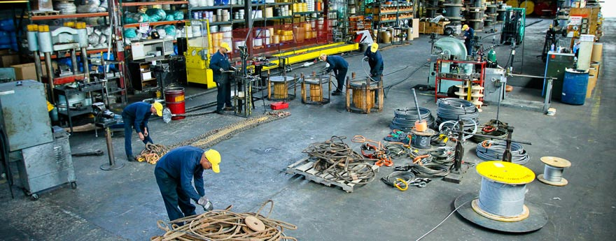 Rigging supplies spread out over shop floor