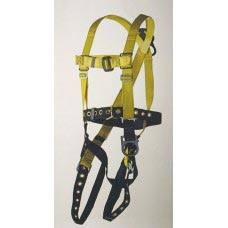 96305BB FULL BODY HARNESS, POSITIONING TYPE. D-RING CENTER BACK AND ON EACH HIP. TOOL BELT WITH TONGUE-BUCKLE LEG STRAPS