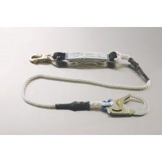 96414SR NYLON ROPE LANYARD WITH DOUBLE LOCKING SNAP, REBAR HOOK AND SHOCK ABSORBING PACK ONE END