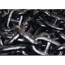 "1-3/4"" STUD LINK ANCHOR CHAIN GRADE 3 BLACK TAR FINISH WITH ABS CERTS"