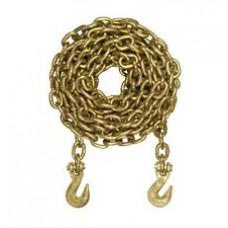 "3/8"" X 20' GOLD CHROMATE GR. 70    TRANSPORT CHAIN BINDER WITH CLEVIS GRAB HOOK EACH END DOMESTIC"
